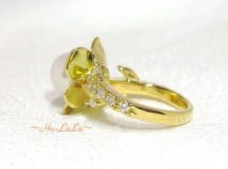 K18ダイヤ&真珠指輪 FOD019